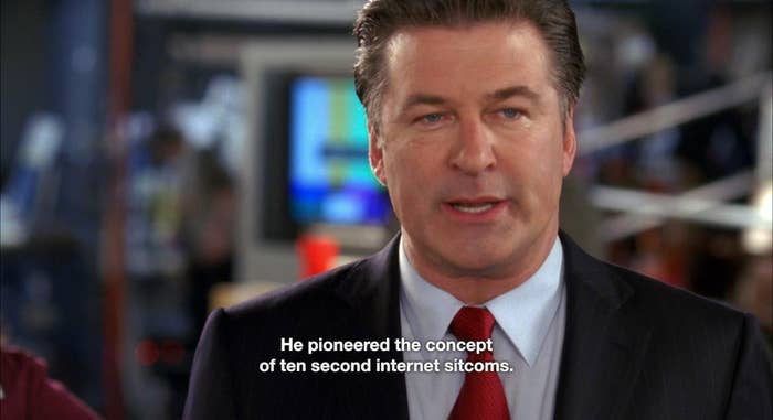 """A man speaking and the caption text """"He pioneered the concept of ten second internet sitcoms"""""""