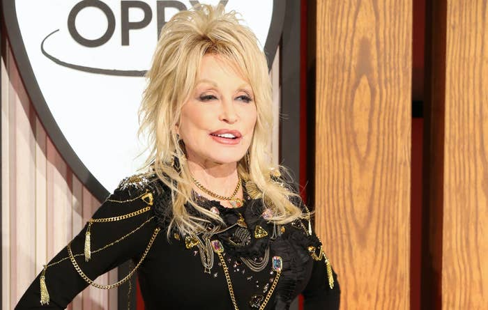 Dolly Parton attends a press conference before a performance celebrating her 50-year anniversary with the Grand Ole Opry at The Grand Ole Opry on October 12, 2019 in Nashville, Tennessee.