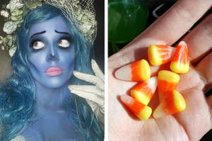 Side by side of Halsey wearing a Corpse Bride makeup look and a hand holding Candy Corn