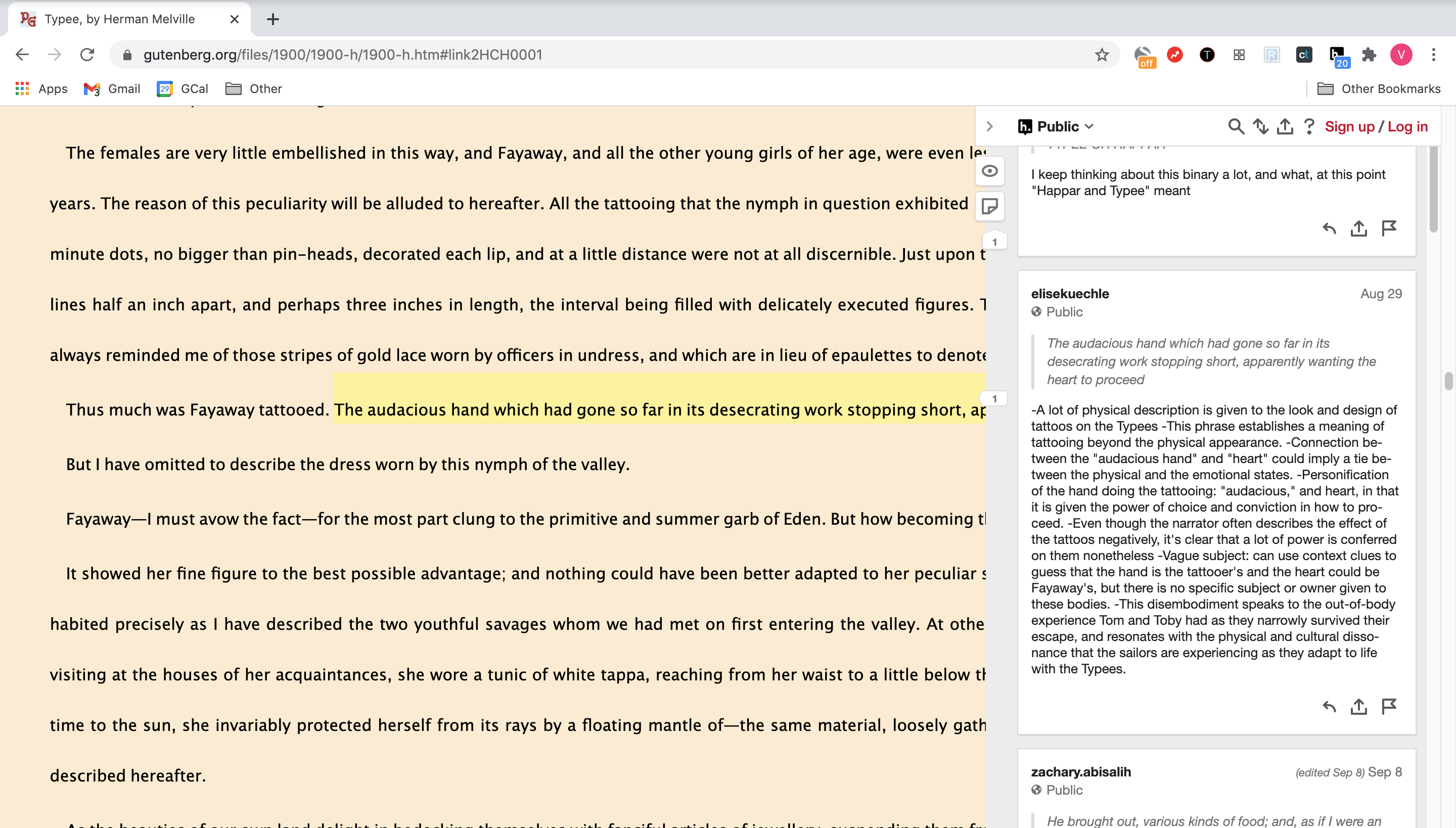 "A screenshot of the Hypothesis extension showing a sidebar with annotations over a text version of Herman Melville's ""Typee"" on Project Gutenberg"