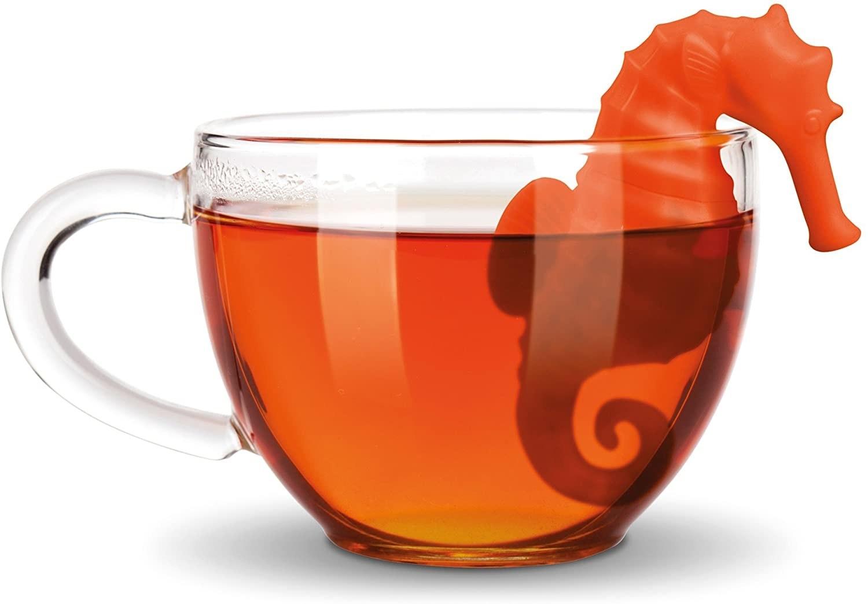seahorse-shape tea diffuser in a coffee mug
