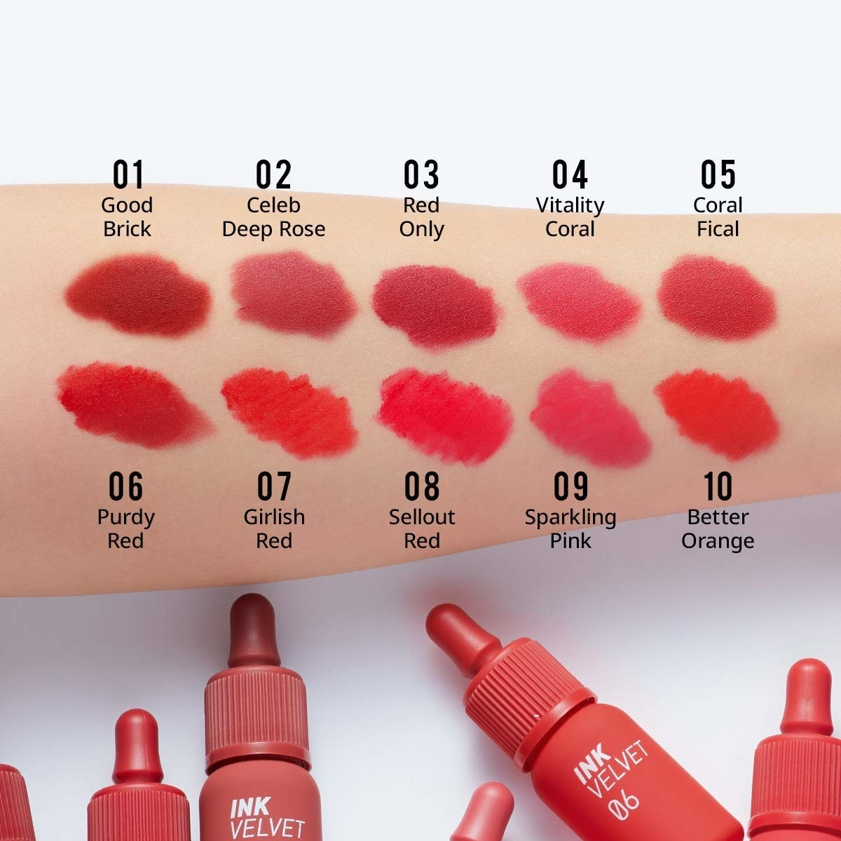 An arm with the 10 colors swatched on it, plus the ink bottle-shaped lip tints