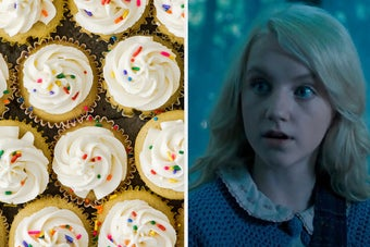 A tray of vanilla cupcakes with sprinkles are on the left with Luna Lovegood looking surprised on the right