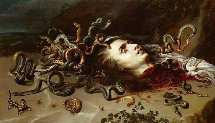 Kepala Medusa.  Minyak di atas kanvas