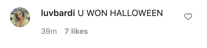 "A commenter who wrote ""U won Halloween"""