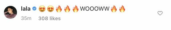 Lala berkomentar & quot; Wow & quot;  dan api emoji