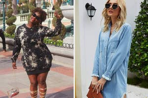 On the left, a reviewer in a tie-dye hoodie dress. On the right, a model in a denim shirtdress