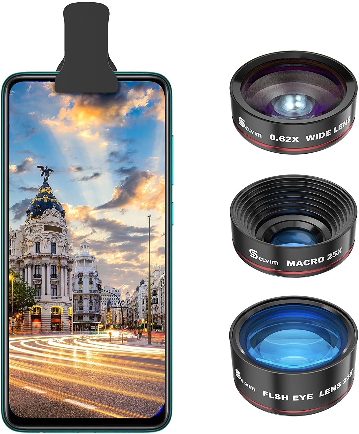 A phone with three lenses next to it