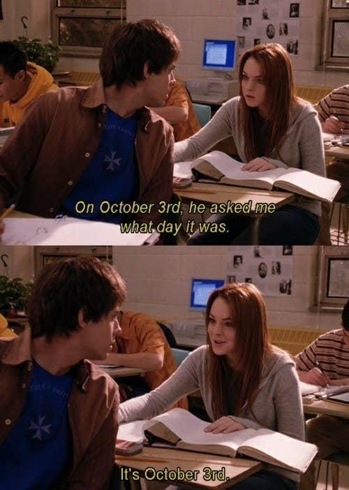October 3rd scene from Mean Girls