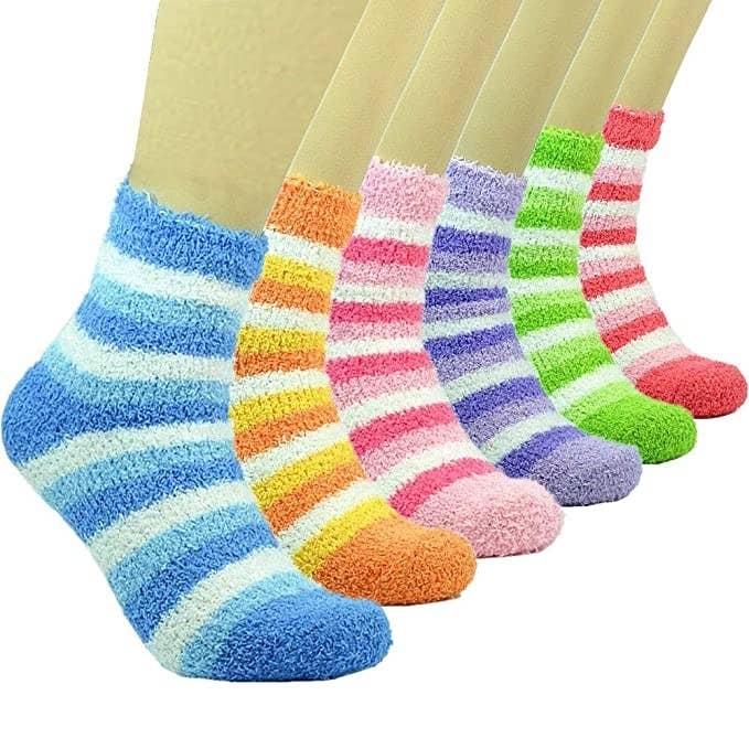 Multi-colour striped fuzzy socks.