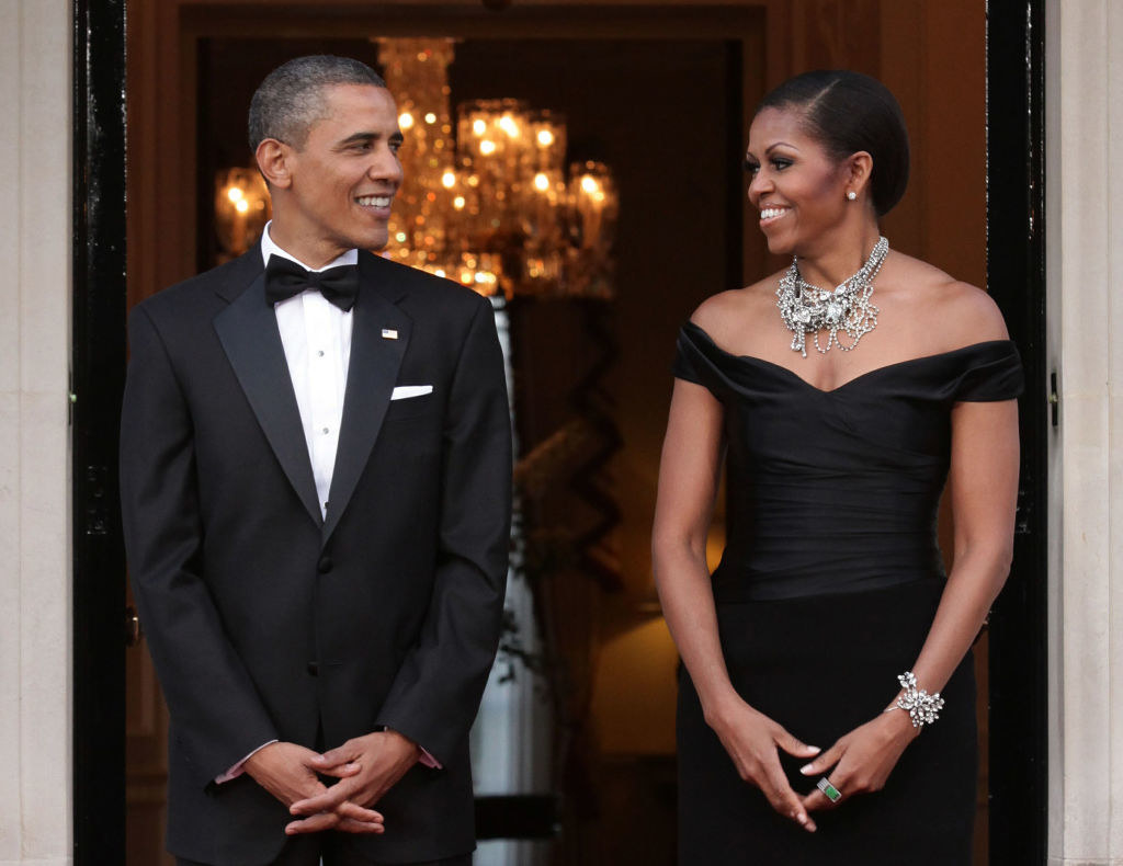 Barack and Michelle smiling and gazing at each other