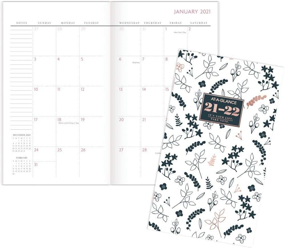 A pocket calendar with a flower design for 2021 to 2022