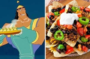 A man is on the left holding a plate of food with a plate of nachos on the right
