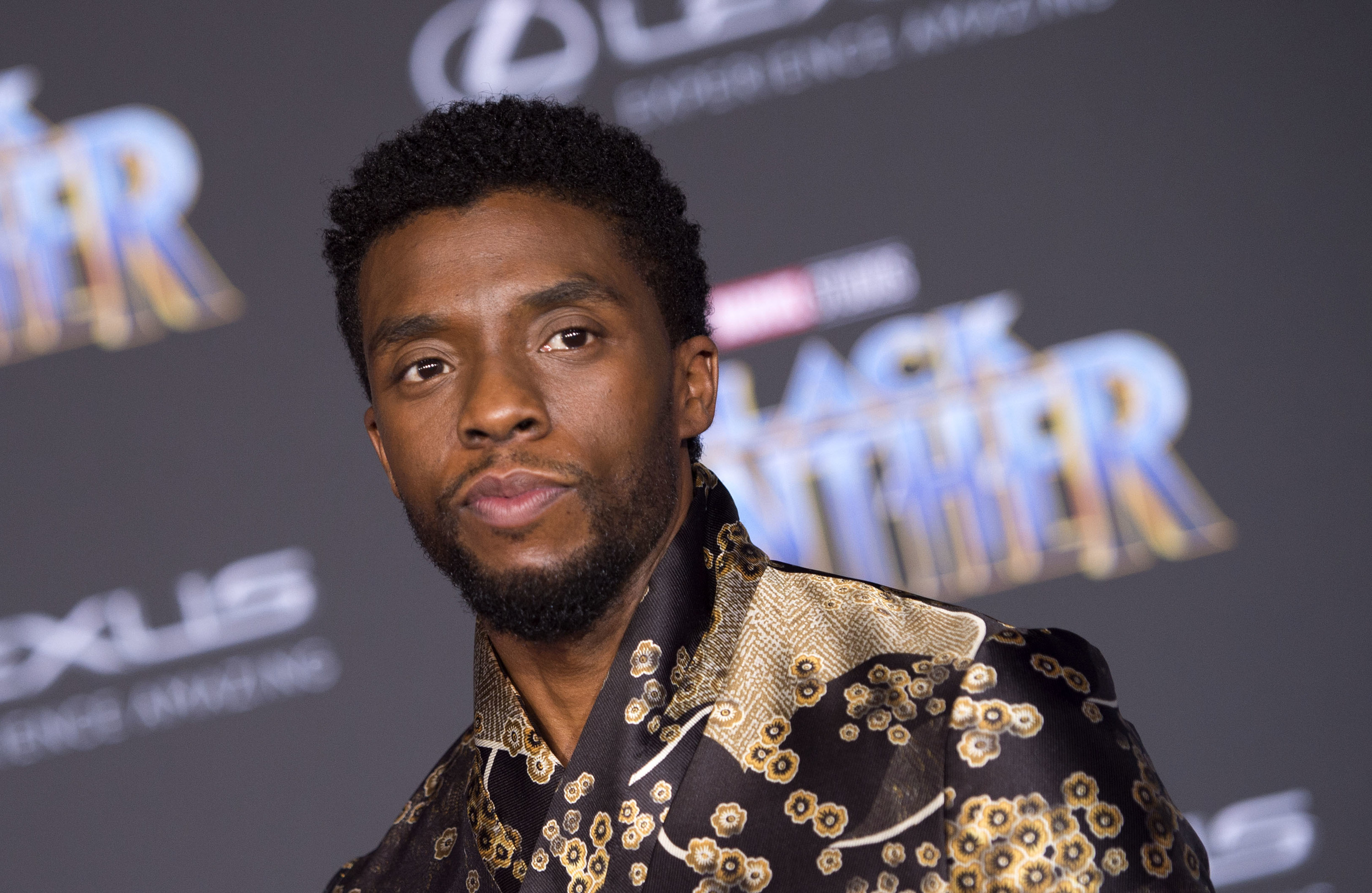 Chadwick Boseman attends the world premiere of Marvel Studios Black Panther