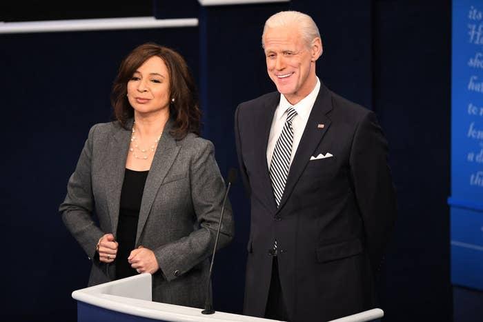 Maya Rudolph and Jim Carrey dressed as Kamala Harris and Joe Biden