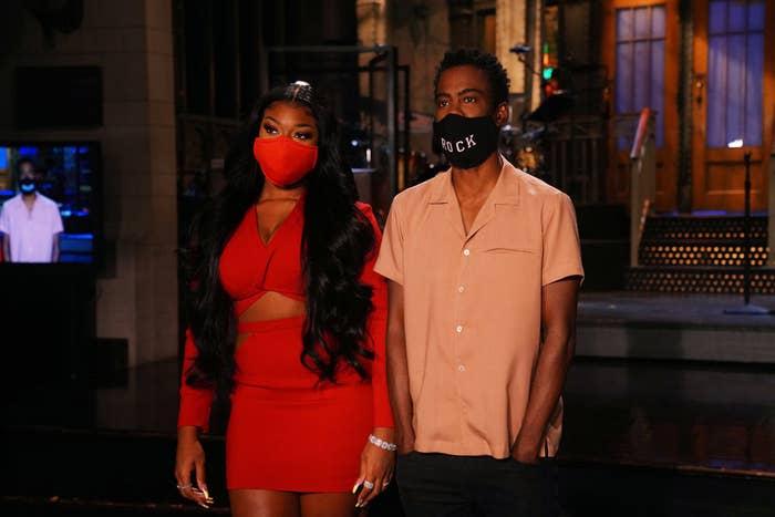 Megan Thee Stallion and Chris Rock wearing masks