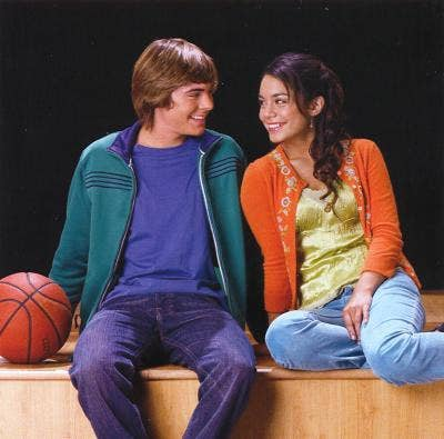 Gabriella and Troy looking lovingly into each other's eyes