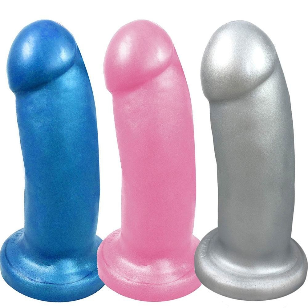 the dildos in blue, pink, and silver colors