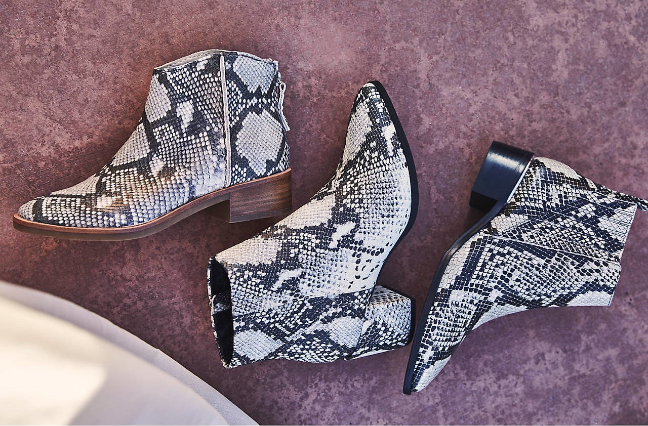 Three snake print booties by Madden Girl