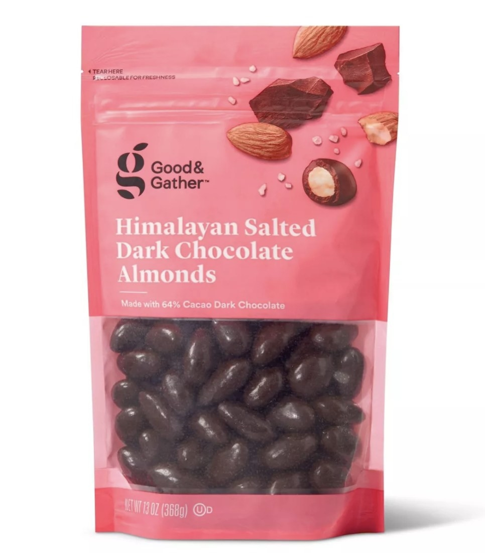 The bag of Himalayan salted dark chocolate almonds