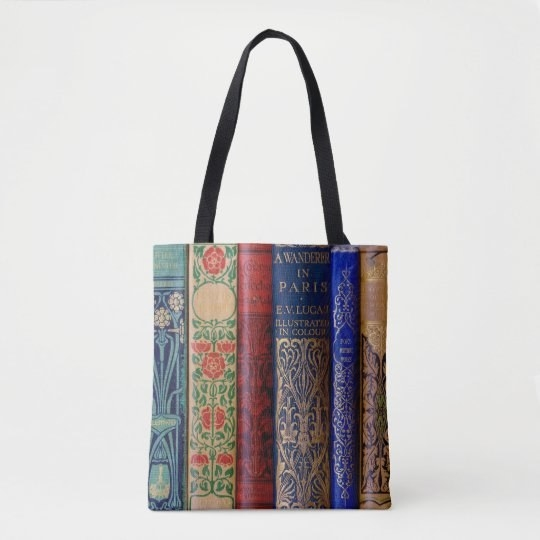 a tote bag designed to look like a shelf of vintage books