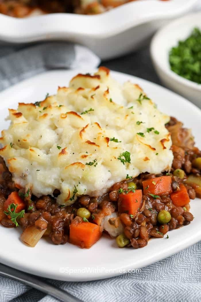 A plate of lentil and mashed potato shepherd's pie.