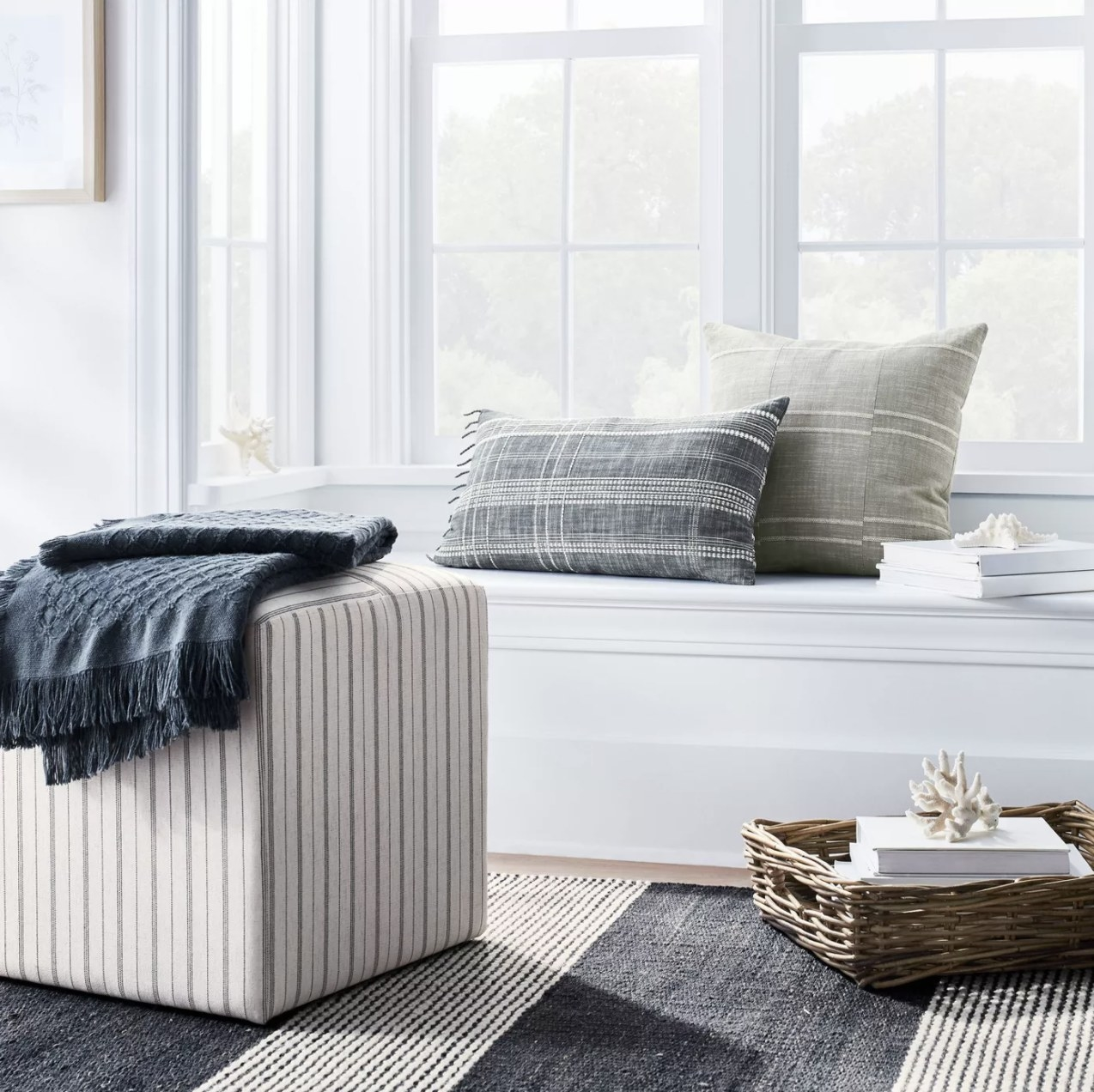 The ottoman in the stripe white pattern
