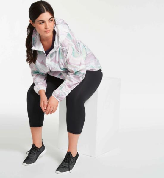 A model wearing the lightweight running jacket
