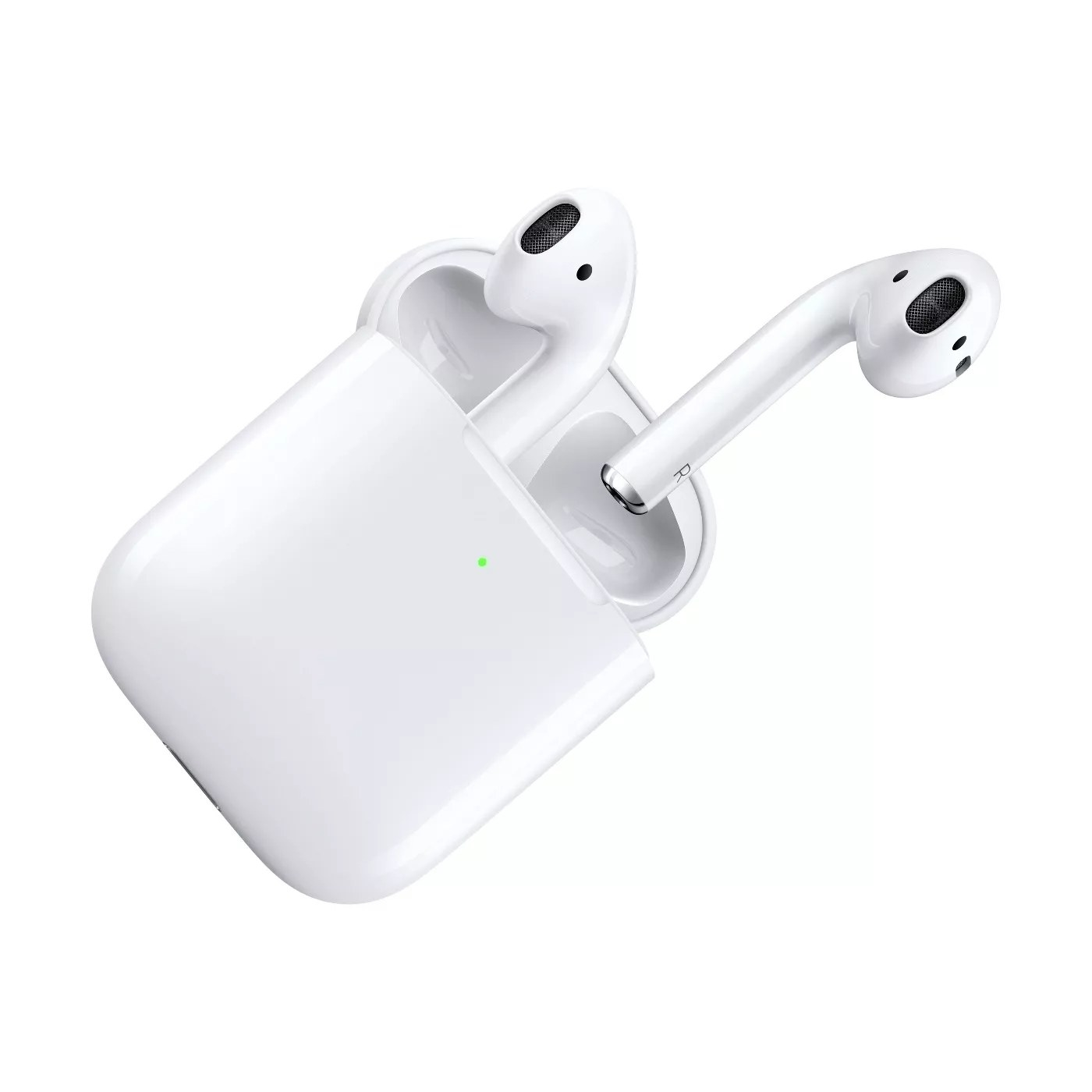 The AirPods in the charging case