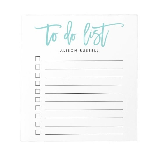 a to do list notepad with a customize named on it and check boxes