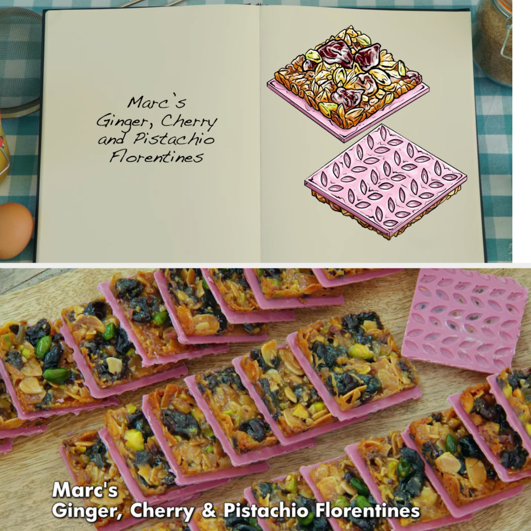 A drawing of Marc's Florentines which are decorated with a square of ruby chocolate side by side with his finished bake