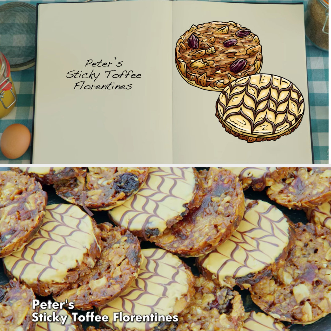 A drawing of Peter's Sticky Toffee Florentine which is decorated with a feathering technique side by side with his actual bake