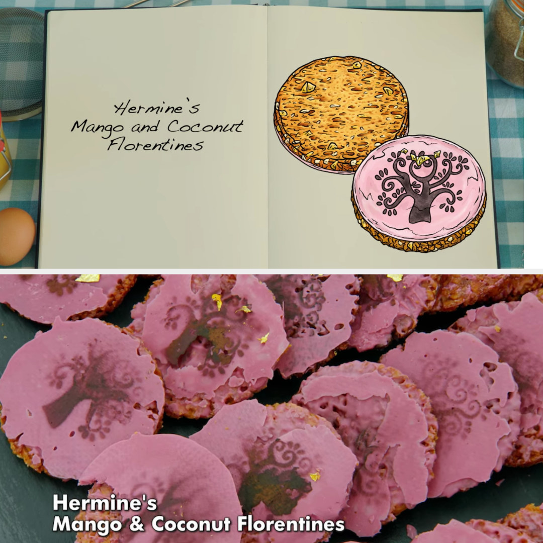 Hermine's Florentines which are Mango and Coconut flavored, with a pink coating and a brown tree decoration in the drawing side-by-side with the actual bake