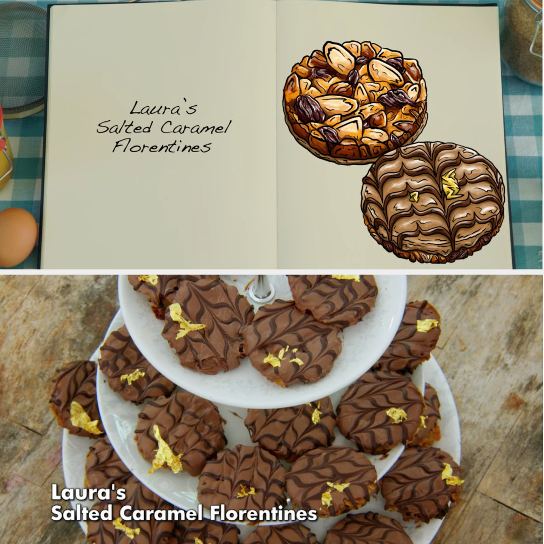 A drawing of Laura's Florentines which are decorated with chocolate feathering and small gold leaves side by side with her finished bake