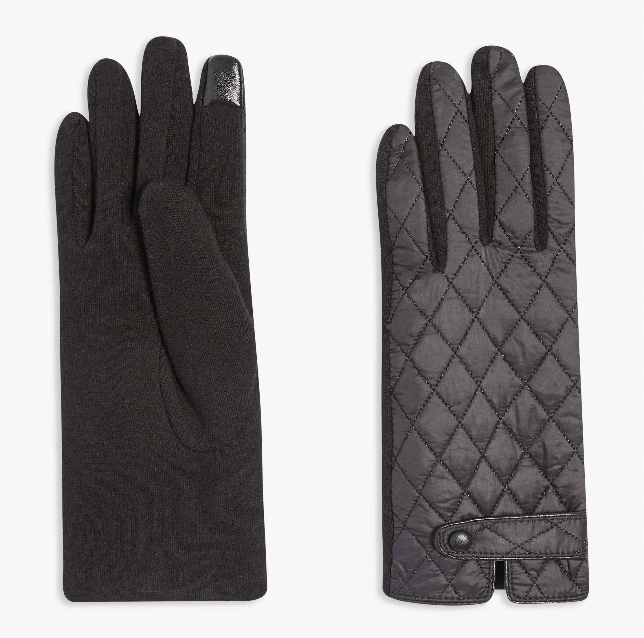 A pair of winter gloves with touchscreen tips on the fingers