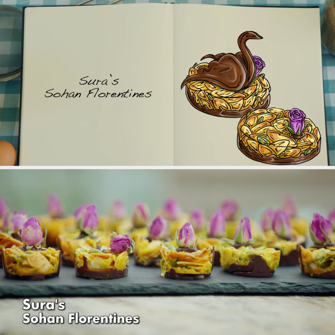 A drawing of Sura's Florentines which are decorated with a small flower side by side with her finished bake