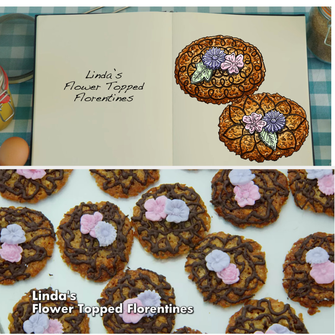 A drawing of Linda's Florentines which are decorated with chocolate piping and small flowers side by side with her finished bake
