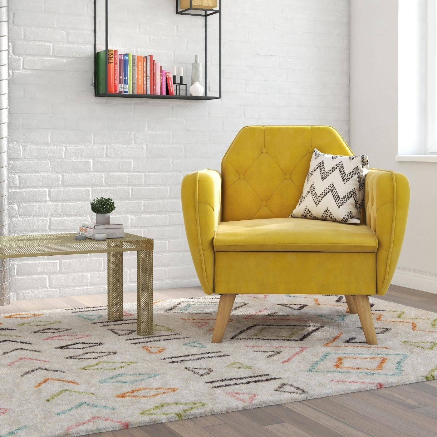 yellow tufted accent chair sitting in the corner of a white room