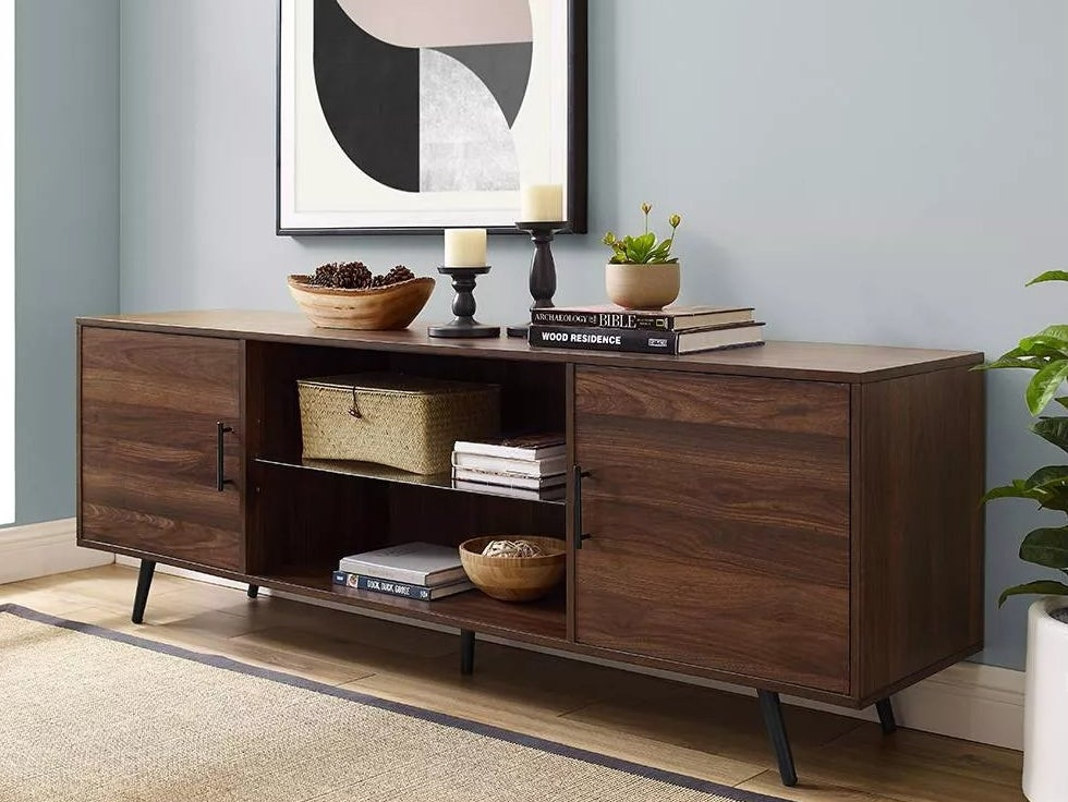 The dark walnut TV stand
