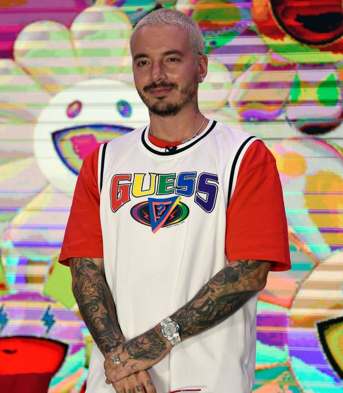 J Balvin poses at an event in March