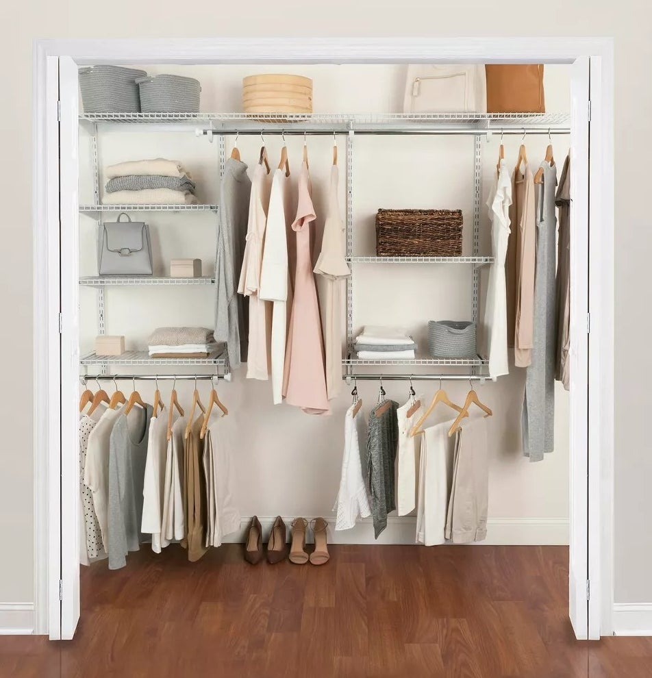 A closet outfitted with the configuration kit