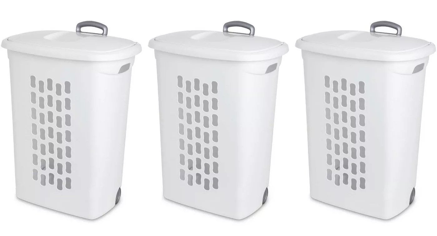 The white laundry hampers with lift-tops, wheels, and pull handles