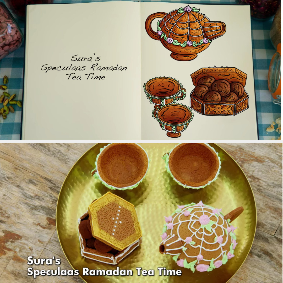 A drawing of Sura's tea set structure side by side with her finished bake