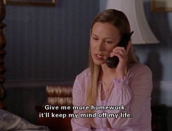 """Paris on the phone saying, """"Give me more homework, it'll keep my mind off my life"""""""