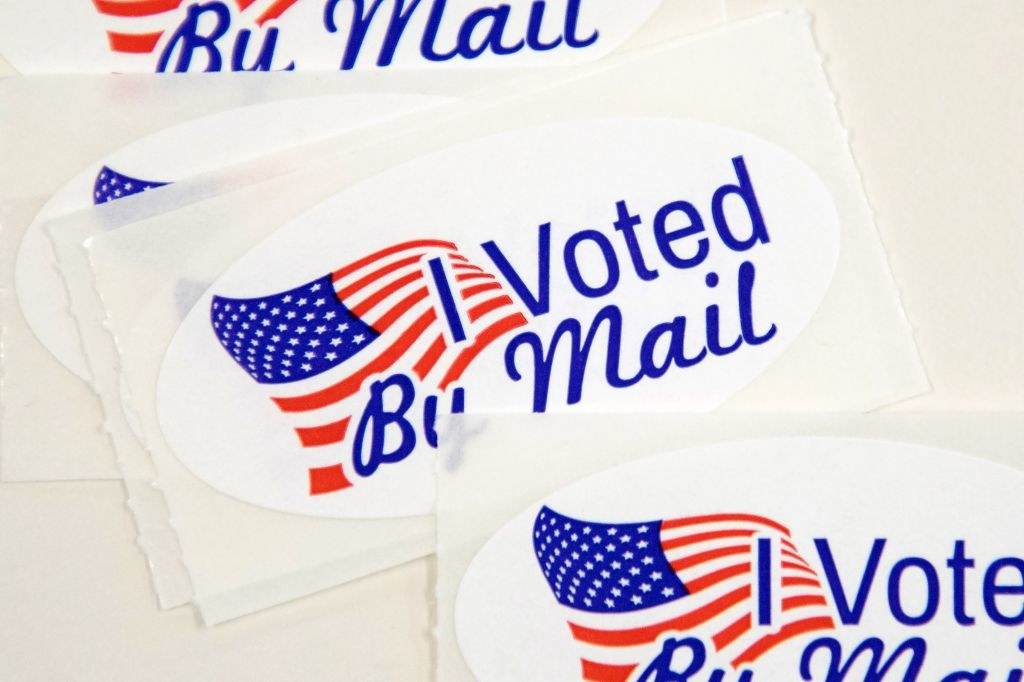 """""""I voted by mail"""" stickers"""