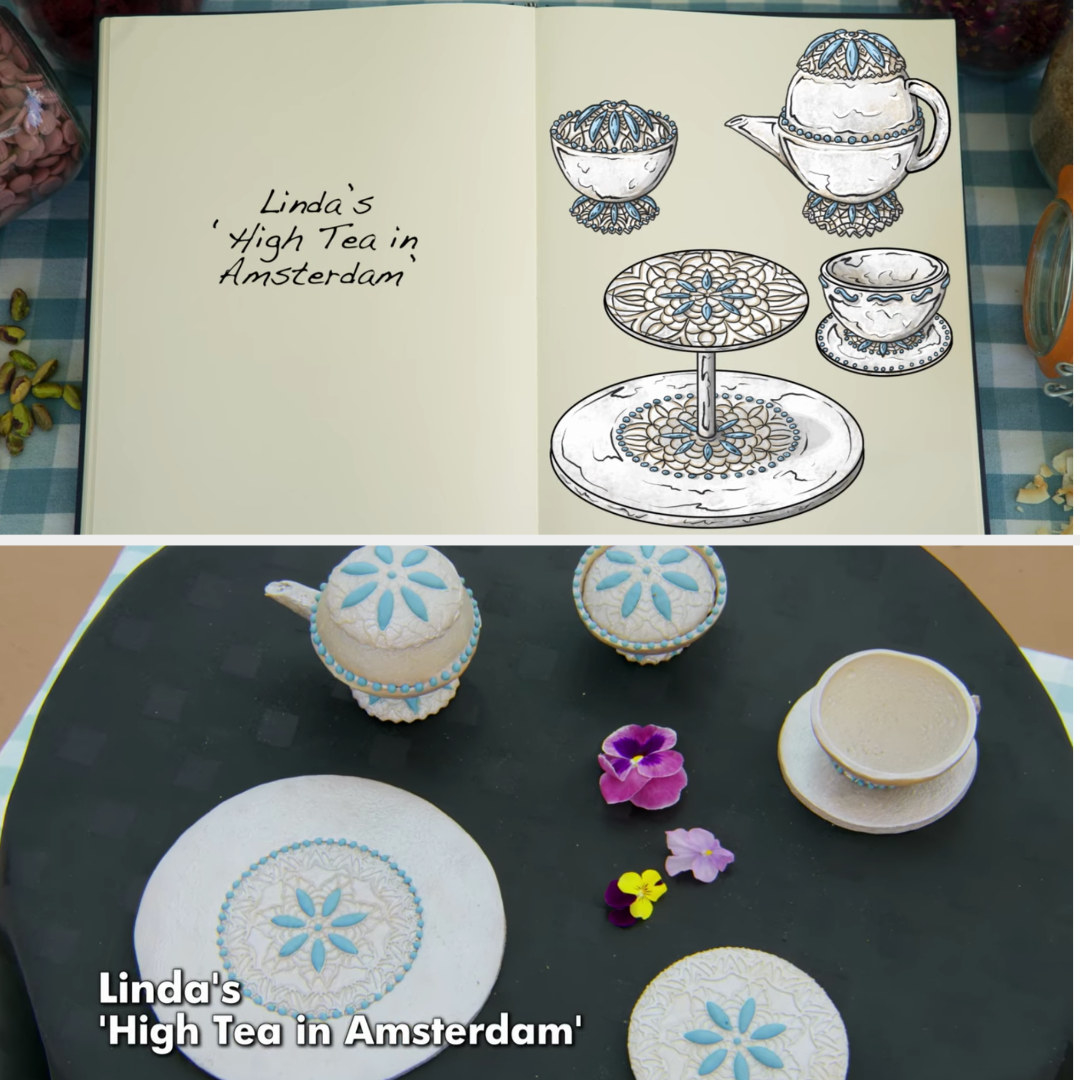 A drawing of Linda's tea set structure side by side with her finished bake