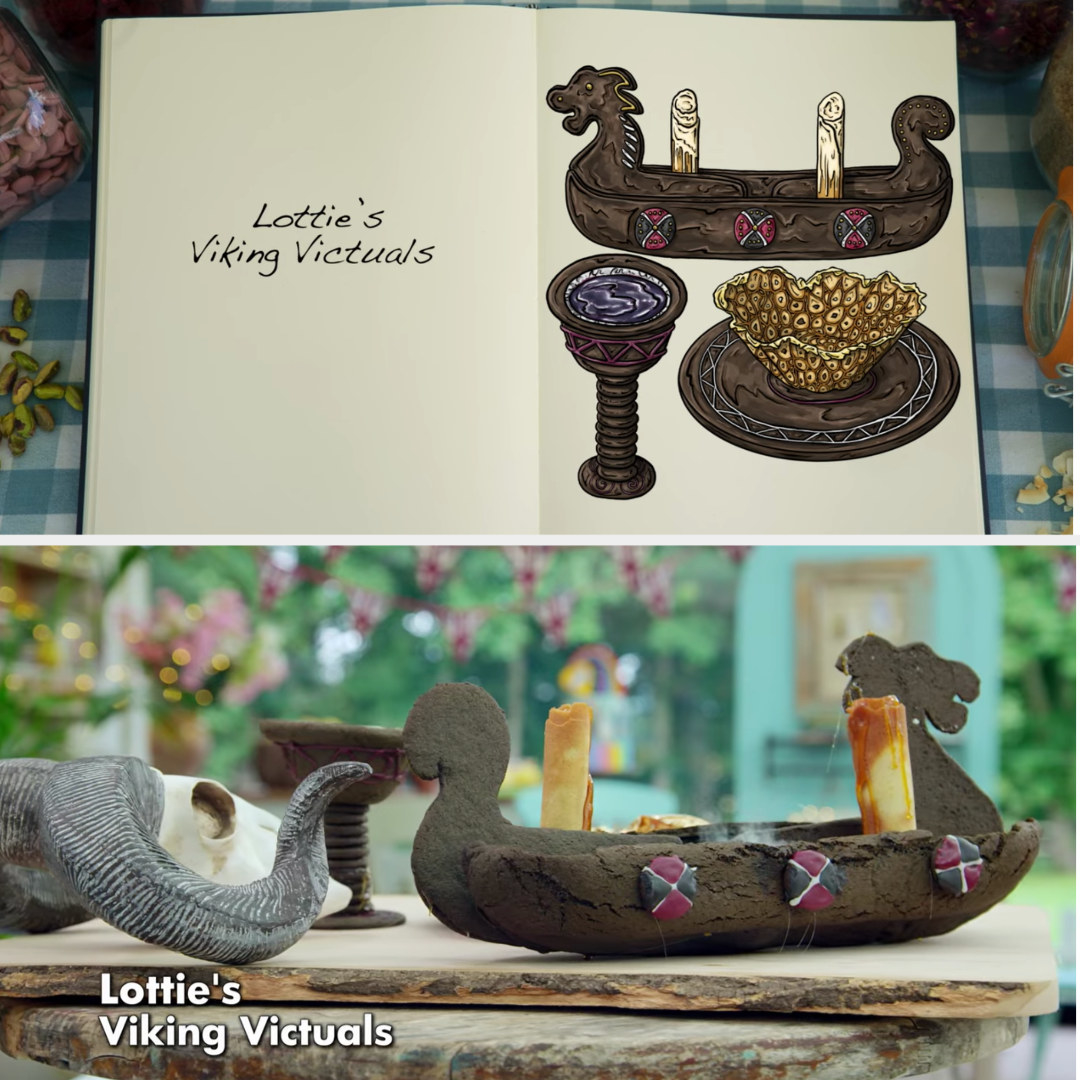 A drawing of Lottie's Viking structure side by side with her finished bake