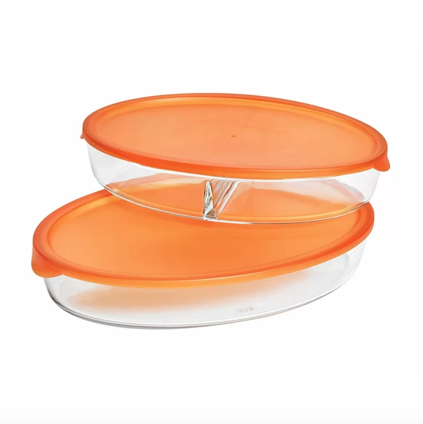 The two-piece bakeware set with orange lids