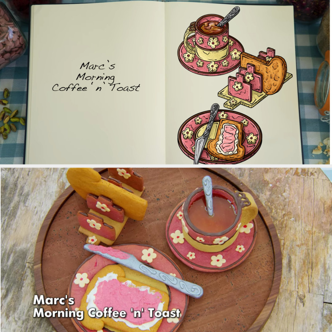 A drawing of Marc's breakfast structure side by side with his finished bake