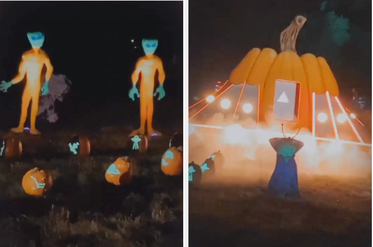 Aliens and a flying saucer made of pumpkins